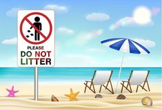 Please do not litter sign on sea sand beach Royalty Free Stock Photography