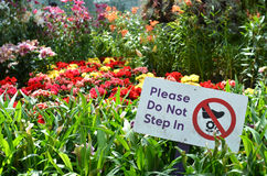 Please do not step in sign in Gardens by the Bay Royalty Free Stock Photography