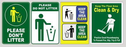 Please don't litter signs. Sign boards with text 'please don't litter' in white uppercase text and 'keep the area clean' illustrated with figures behaving Royalty Free Stock Images