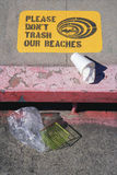 Please don't trash our beaches  sign Stock Photography
