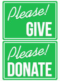 Please Donate and Give Green Sign Set Stock Photography