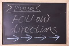 Please follow directions blackboard Stock Images