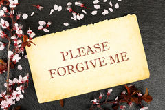 Please forgive me. Forgive me on paper with almond tree twig on stone texture Royalty Free Stock Photos