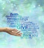 Please ger sig generously - Arkivbild