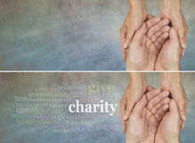 Please give generously. Two identical banners, one with a Charity word cloud, the other without, on a rustic light colored stone effect background with a woman royalty free stock image