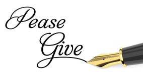 Donate concept. Please give handwritten with fountain pen Royalty Free Stock Images