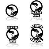 Please give. Icon set showing a hand dropping some coins on an open hand, indication donations Stock Photos
