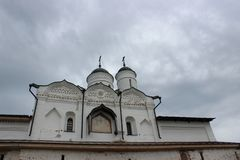 Domes of the temple against the gray sky in the Kremlin of the city of Uglich of the Yaroslavl region stock photos