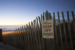 Please Keep Off the Dunes at Sunrise Stock Images