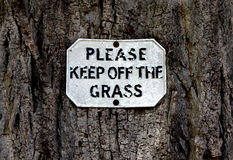 Please keep off the grass Stock Photography