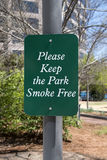 Please Keep the Park Smoke Free Sign. A Please Keep the Park Smoke Free Sign in North Carolina, NC royalty free stock photo
