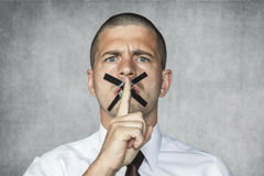 Please keep quiet. Business man royalty free stock images