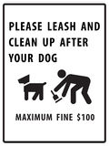 Please leash and clean up after your dog sign. On white background Royalty Free Stock Photos