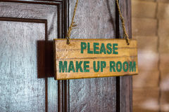 Please make up room sign on door knob in hotel Stock Photo