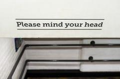 Please Mind Your Head Stock Photos