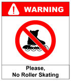 Please, No rollerblades sign in vector isolated on white prohibition sticker Royalty Free Stock Photo