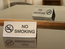 Please no smoking!. Hotel room no smoking sign reflected on glass surface and in mirror Royalty Free Stock Image