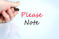 Please note text concept Royalty Free Stock Images