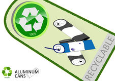 Please recycle aluminum cans. With tag design Stock Photo