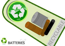 Please recycle batteries. With tag design Royalty Free Stock Photos