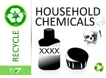 Please recycle household chemicals stock illustration
