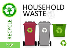 Please recycle household waste. On white Stock Images