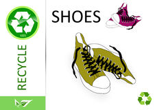 Please recycle shoes Stock Photo