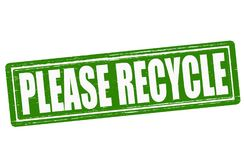Please recycle. Stamp with text please recycle inside, illustration Royalty Free Stock Image