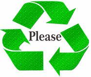 PLEASE Recycle Symbol isolated on a white background Stock Images