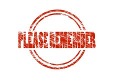 Please remember red rubber stamp Royalty Free Stock Image