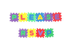 Please RSVP. Message PLEASE RSVP from letter puzzle, isolated on white Stock Image