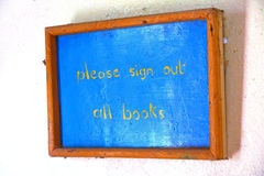 Please Sign out Books Rustic Library Sign Stock Photos