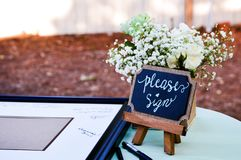 Please sign at the wedding royalty free stock image