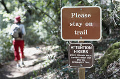 Please stay on trail Stock Image