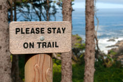 Please Stay on Trail Sign at the Oregon Coast USA Royalty Free Stock Image