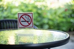 please Stop smoking concept No smoking sign in the coffee shop g royalty free stock photo