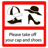 Please take off cap and shoes signs. Take off cap and shoes Signs. No cap shoes sign warning. Prohibited public information icon. Not allowed cap and shoe Stock Photos