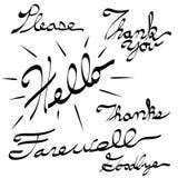 Please Thank You Hello Farewell Goodbye Calligraphy. An image of a Please Thank You Hello Farewell Goodbye Calligraphy. Made using pen tablet and brush tool Stock Photography