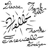 Please Thank You Hello Farewell Goodbye Calligraphy. An image of a Please Thank You Hello Farewell Goodbye Calligraphy. Made using pen tablet and brush tool Stock Images