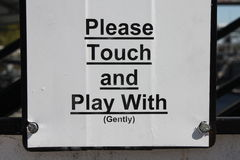 Please touch and play with gently Stock Images