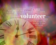 Please volunteer some time NOW. Vibrant red modern art effect background with a clock face bottom left and a VOLUNTEER word tag cloud above Stock Photos