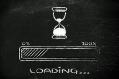 Please wait hourglass illustration with progress bar. Hourglass design and progress bar loading, pc process in progress Royalty Free Stock Photography