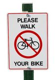 Please walk your bike Royalty Free Stock Image