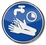 Please wash and disinfect hands for 15 seconds. Please wash and disinfect hands for fifteen seconds Stock Image