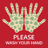 Please wash your hand sign, vector Stock Image