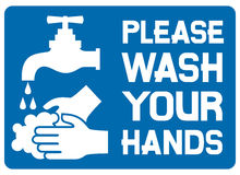 Please wash your hands sign Stock Images