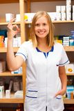 Pleased Beautiful Pharmacist Royalty Free Stock Photography