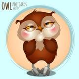 Pleased brown owl, cartoon series Royalty Free Stock Photo