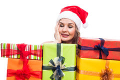 Pleased Christmas woman with presents Stock Photo