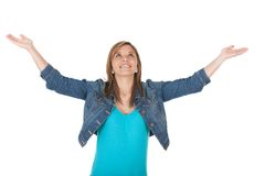 Pleased girl with arms open Royalty Free Stock Image